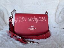 COACH F76700 Small Jes Messenger Shoulder Bag With Rivets in Bright Cardinal Red