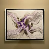 Gold Purple And White Abstract original modern acrylic painting | ships free