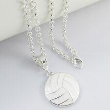 White Enamel Netball Charm Pendant Necklace 75cm SP Coach Sports Team Gift