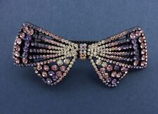 Multi-shades of lavender crystal flower bow barrette