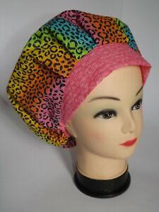 Neon Rainbow Leopard Print Bouffant Scrub Hat/Cap Pink Band Medical NWOT USA