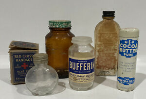 Lot Of Collectible Medical Items Bottles Bandage Bufferin Cocoa Butter Liniment