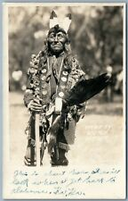AMERICAN INDIAN CHIEF PRETTY VOICE HAWK ANTIQUE REAL PHOTO POSTCARD RPPC