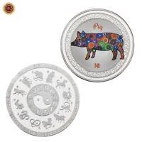 WR 2018 Año del cerdo Moneda conmemorativa de plata del zodiaco chino