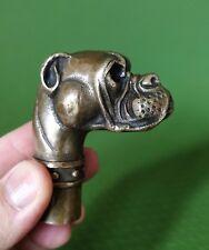 Antique Victorian Walking Stick with Bronze Dog Head Walking Stick handle wand