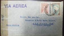 L) 1945 ARGENTINA, MAP, 1 PESO, MARIANO MORENO, 5C, BROWN, CENSOR MAIL
