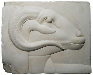 BAS-RELIEF PLAQUE 400-30 BC RAM'S HEAD (GOD FIG) PLSTR REPRO MET EGYPTIAN SCLPTR