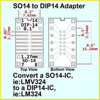 SO14 to 14-pin DIP 14 IC Adapter SO SO-14 DIP-14 PCB Converter DIP14 socket size