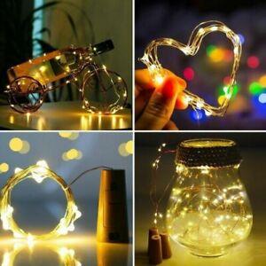 Bottle String Lights 10 LED Warm Cool White Fairy Wine Cork Shaped Stopper 1M