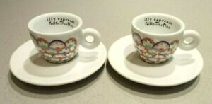 ILLY ART COLLECTION ESPRESSO CUP & SAUCER X2 DESIGNED BY GILLO DORFLES (VGC+)