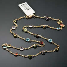 GEMSTONE NECKLACE BLUE TOPAZ AMETHYST GARNET CITRINE PERIDOT 14K YELLOW GOLD 16""