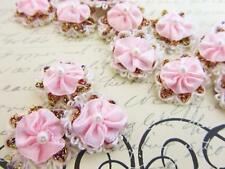 "60 Pink Satin Ribbon 1"" Vintage Flower Bow Pearl Center Applique/Trim/Dress F21"
