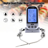 Wireless Dual 2 Probe Thermometer Smoker / Grill BBQ Kitchen Food Cooking Timer