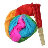 Chinese Style Belly Dance Fan Veils for Women long Silk Fan Bamboo Fan UED