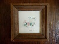 "Collectible Miniature Framed Print - Pitcher w/Flowers, 4"" x 4"", Signed"