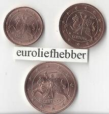 Litouwen     1 + 2 + 5  Eurocent    2015    UNC   Op voorraad, direct leverbaar