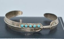 Vintage STER SILVER & Turquoise Feathers CUFF BANGLE - Native American? - Small