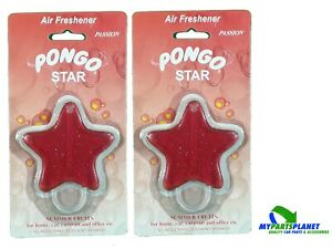 2 X Pongo Car Gel Air Freshener Red Star Summer Fruits Passion Scent