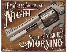 If found here Metal tin sign gun support home defense garage Wall decor new