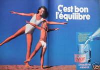 PUBLICITÉ 1983 ÉVIAN EAU MINÉRALE C'EST BON L'ÉQUILIBRE