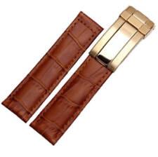 20mm Brown Leather Band Strap bracelet Buckle for Rolex Daytona Submariner watch