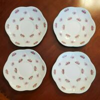 Shelley Bone China Rosebud Dainty Saucers for Cream Soup Bowls 13426 (lot of 4)