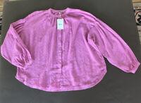 FREE PEOPLE EYELET BALLON LONG SLEEVE BLOUSE TOP Lavender Purple Size XS $118