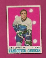 1970-71 OPC # 227 CANUCKS MIKE CORRIGAN ROOKIE EX-MT CARD (INV#5223)