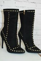Black Stud Detail Mid Calf Boots from Venus