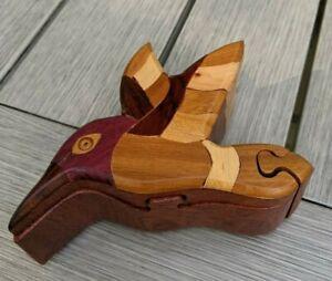Intarsia Wood Inlay Hummingbird Puzzle Trinket Box Hand Carved Jewelry Gift Art
