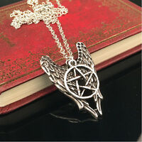 5Pcs Devil Angel Wings Pentagram Supernatural Wicca Necklace Pendant Jewellery
