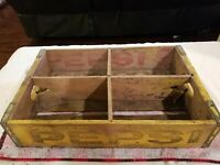 Vintage Pepsi Cola Pop Soda Wooden Crate Yellow RARE LOTS OF WEAR