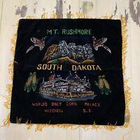 MT RUSHMORE - CORN PALACE - Vtg Mitchell South Dakota Black Souvenir Pillowcase
