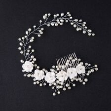 Flower Garland Pearl Headband Wedding Bride Hair Accessories Head Piece vnc