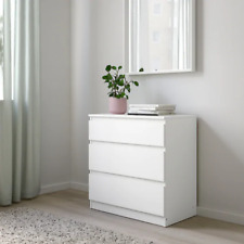 IKEA Malm Chest of 3 Drawers White Bedroom Furniture 70x72cm