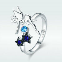 Real S925 Sterling Silver Open Finger Ring Night Fairy With Dark Blue CZ Jewelry