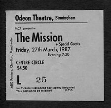 Original 1987 The Mission Concert Ticket Stub Birmingham UK God's Own Medicine