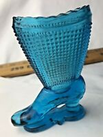 FENTON BLUE Turquoise  GLASS SHOE HIGH HEEL BOOT Victorian