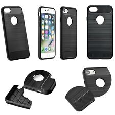 TPU Case Bumper Carbon Alu Fiber Design Schutz Hülle Handy Cover Brushed Schwarz