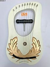 Lyre Harp Rose Wood 10 Metal Strings / Celtic Lyra Harp with Free Carrying Case