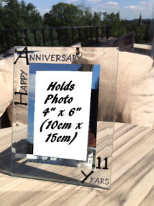 11th Wedding Anniversary Photo Picture Frame: (P) (Black/Silver)