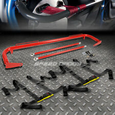 "RED 49""STAINLESS STEEL CHASSIS HARNESS BAR+BLACK 4-PT STRAP BUCKLE SEAT BELT"