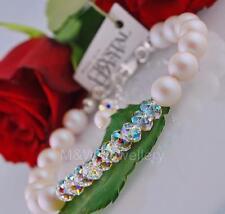 BRIDAL BRACELET WITH SWAROVSKI ELEMENTS PEARL PEARLESCENT WHITE Sterling silver*