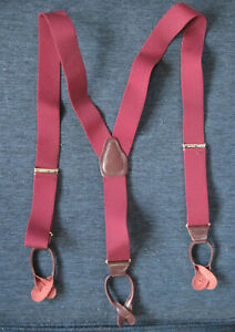 Men's Button Suspenders CAS Germany Burgundy with Brown Leather Accents