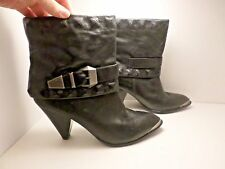 B Makowsky Eliza black biker covered stud pyramaid leather booties boots size 8