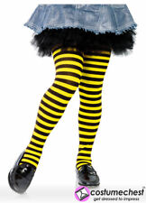 Childrens 11-13 years Girls Black And Yellow Bee Striped Tights by Leg Avenue