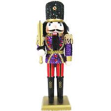 Christmas Nutcracker Figure Soldier  Purple Sequin Jacket