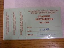 16/02/1991 billet: Walsall V Chesterfield [Stadium Restaurant Day Pass] (complet