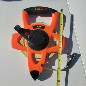 Lufkin 100 Foot Fiberglass Tape Measure With End Hook & Rewind Handle EXCELLENT