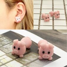 2017  Handmade Polymer Clay Cute Pink Pig Earrings Women Animal Ear Stud Jewelry